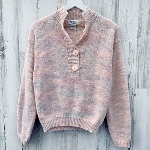 Vintage 90s Pastel Marble Knit Collared Sweater